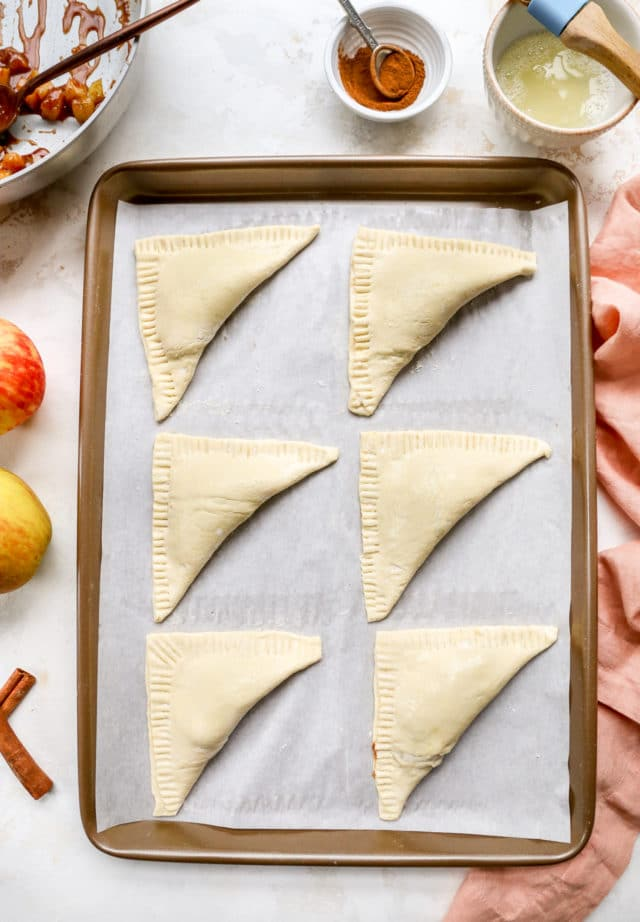 fold the puff pastry over the apple filling