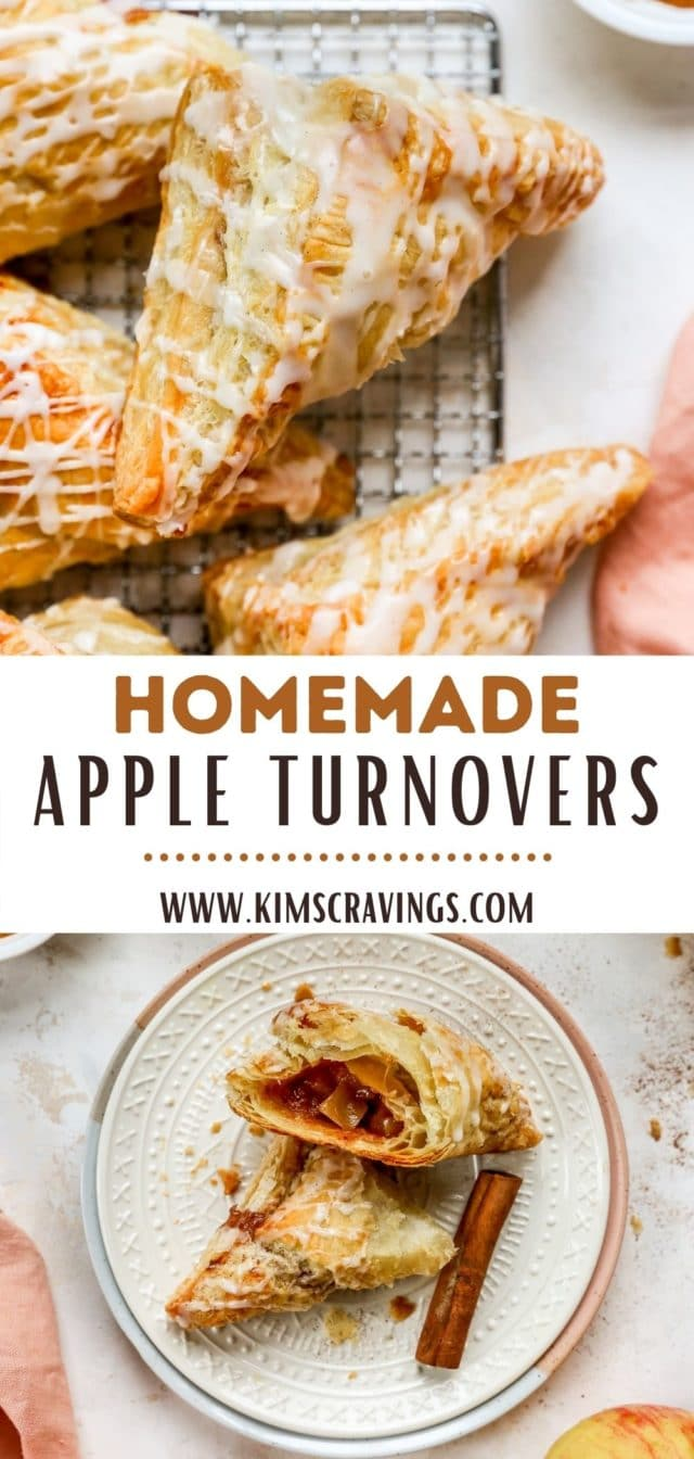 homemade apple turnovers topped with vanilla glaze