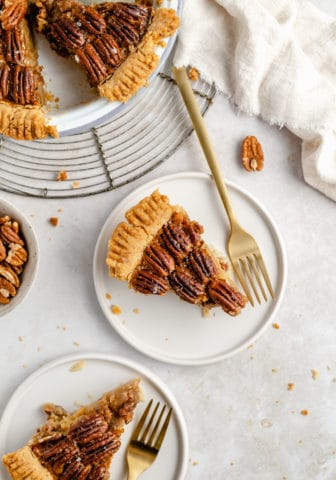 slice of pecan pie on a small white plate