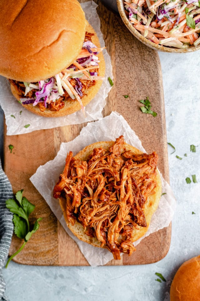 bbq pulled chicken piled on a bun