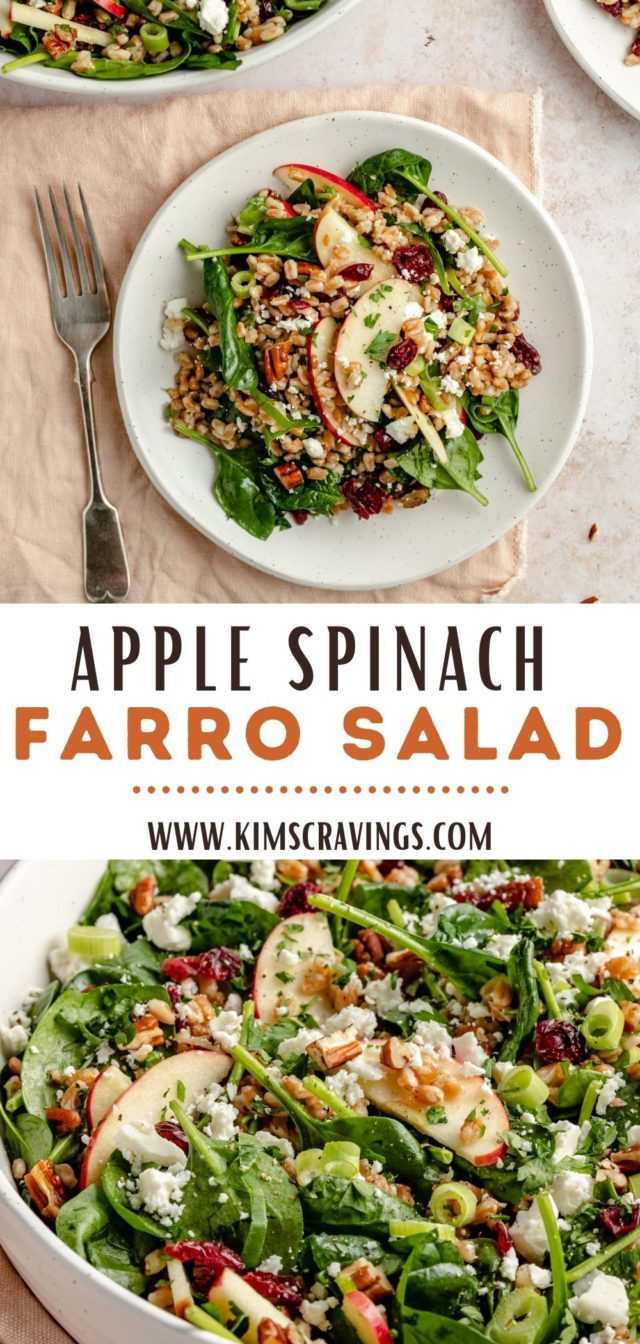 how to make an Apple Spinach Farro Salad