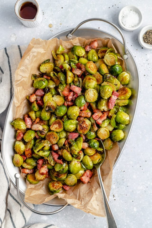 a bowl filled with Brussels sprouts and bacon