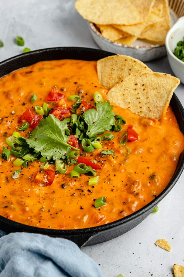 black eyed pea dip garnished with fresh tomatoes, onions and cilantro