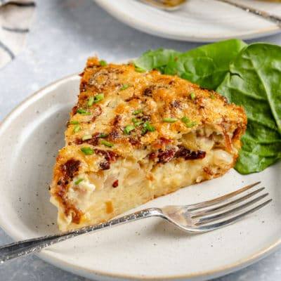 slice of crustless quiche on a plate