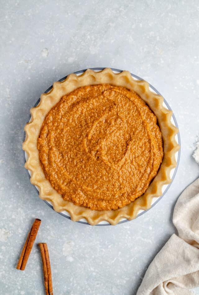 add sweet potato filling to pie crust