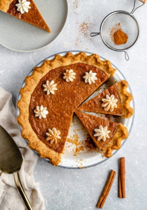 sweet potato pie cut into slices