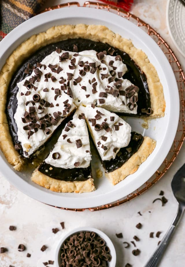 slices of chocolate pie cut in a pie dish