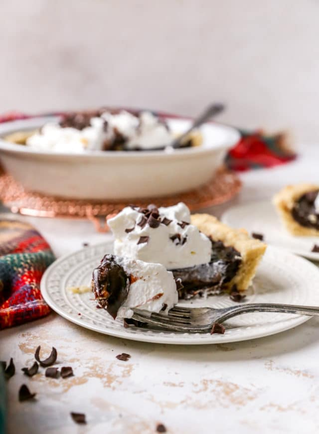 chocolate cream pie served on a white plate with a fork