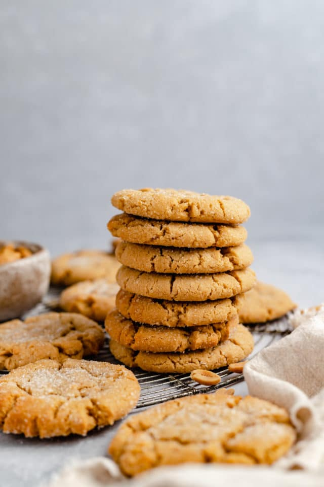 large stack of peanut butter cookies