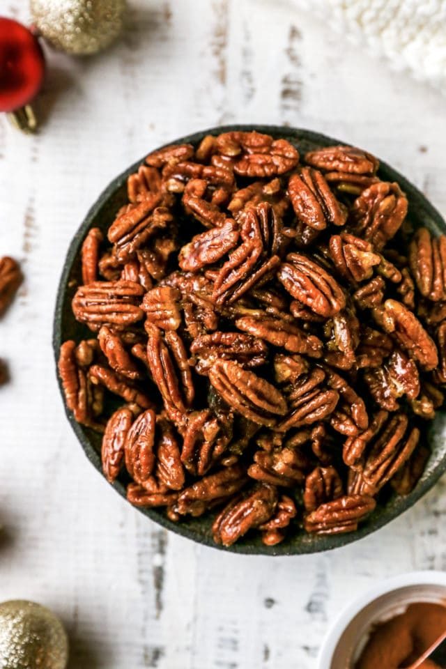 candied pecans in a serving bowl