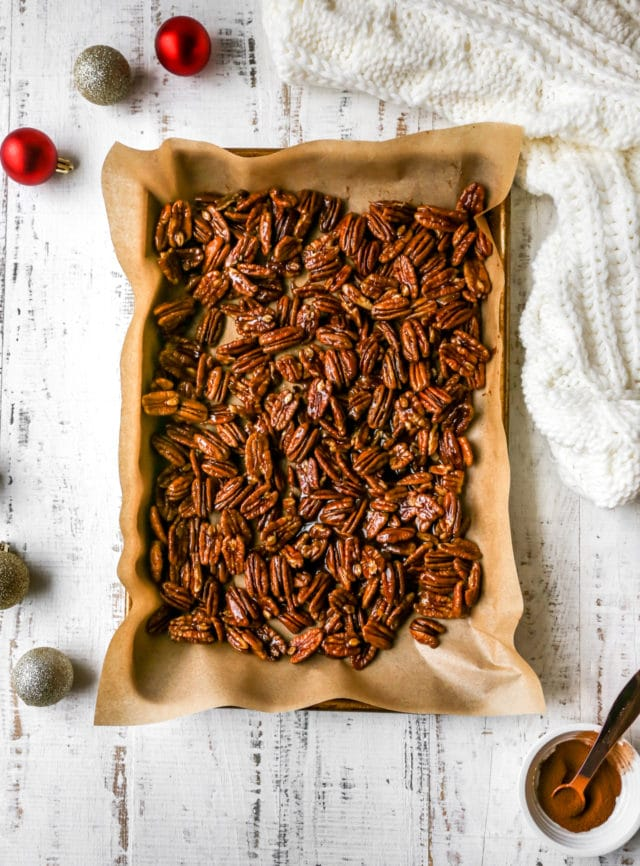 place candied pecans on a baking sheet to set