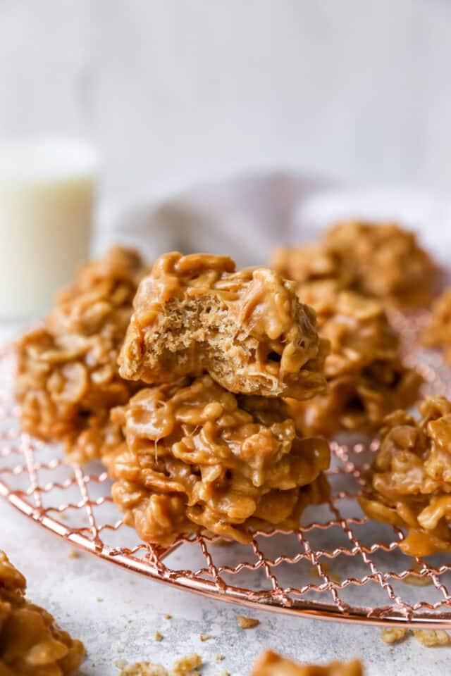 cornflake cookie bitten into