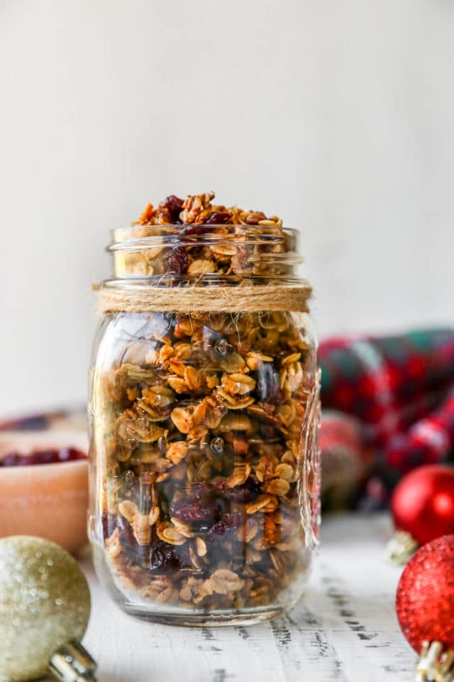 granola in a glass jar wrapped with twine