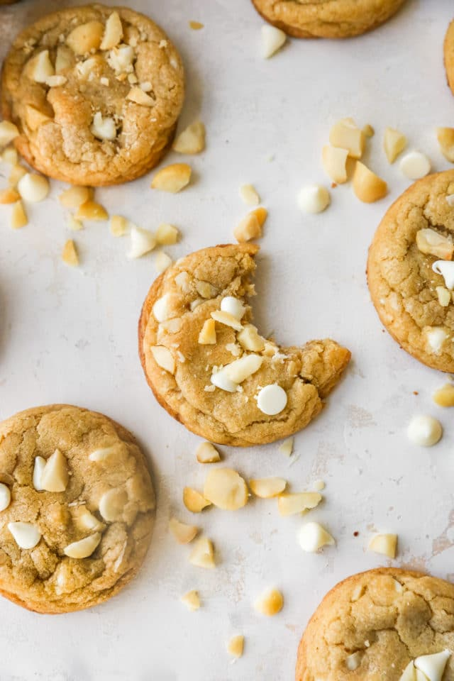white chocolate macadamia nut cookie with a bite taken out