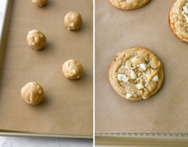 roll balls of white chocolate macadamia nut cookie dough and place on baking sheet