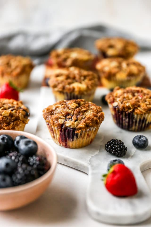 homemade muffins with berries and a streusel topping