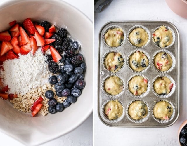 adding batter for berry muffins into a muffin pan