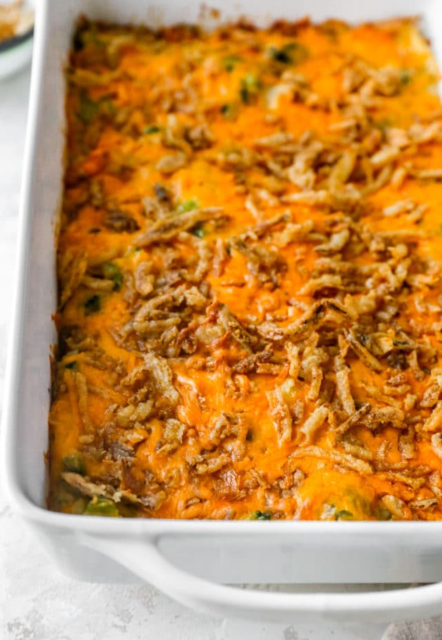 baked cheesy dish topped with fried onions