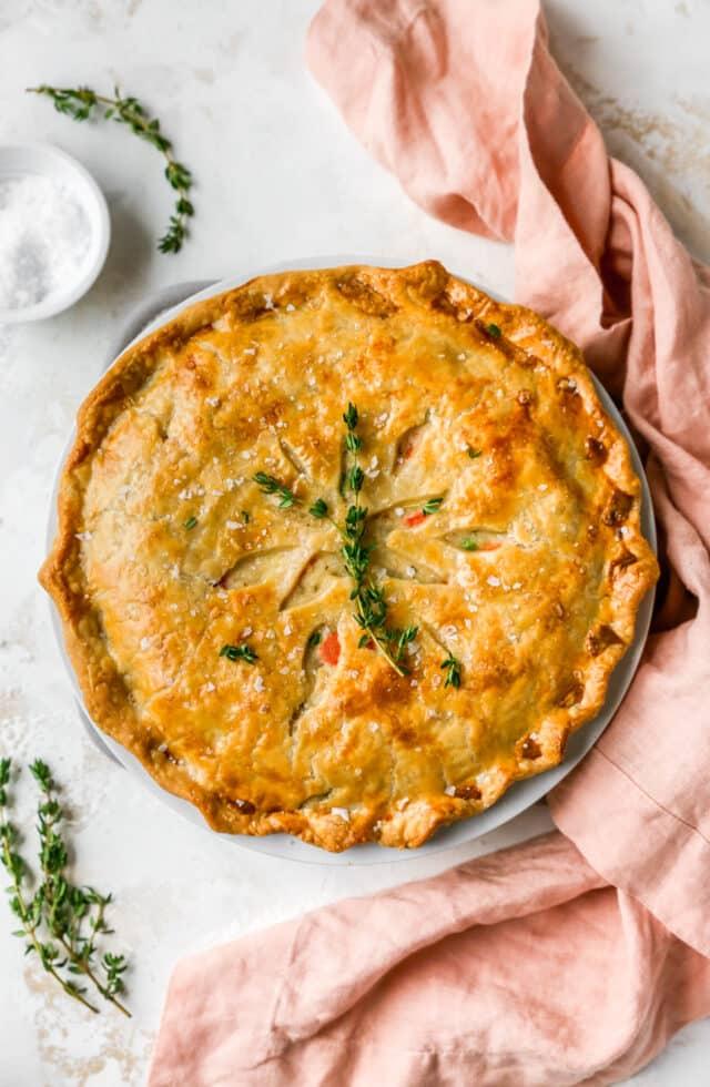 chicken pot pie garnished with fresh rosemary