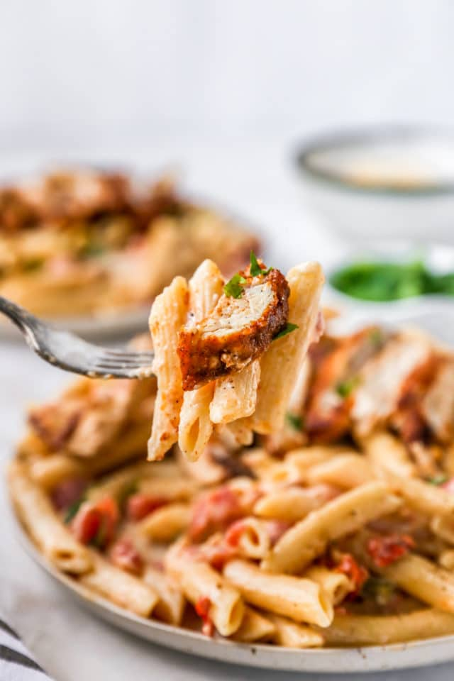 fork of pasta and chicken