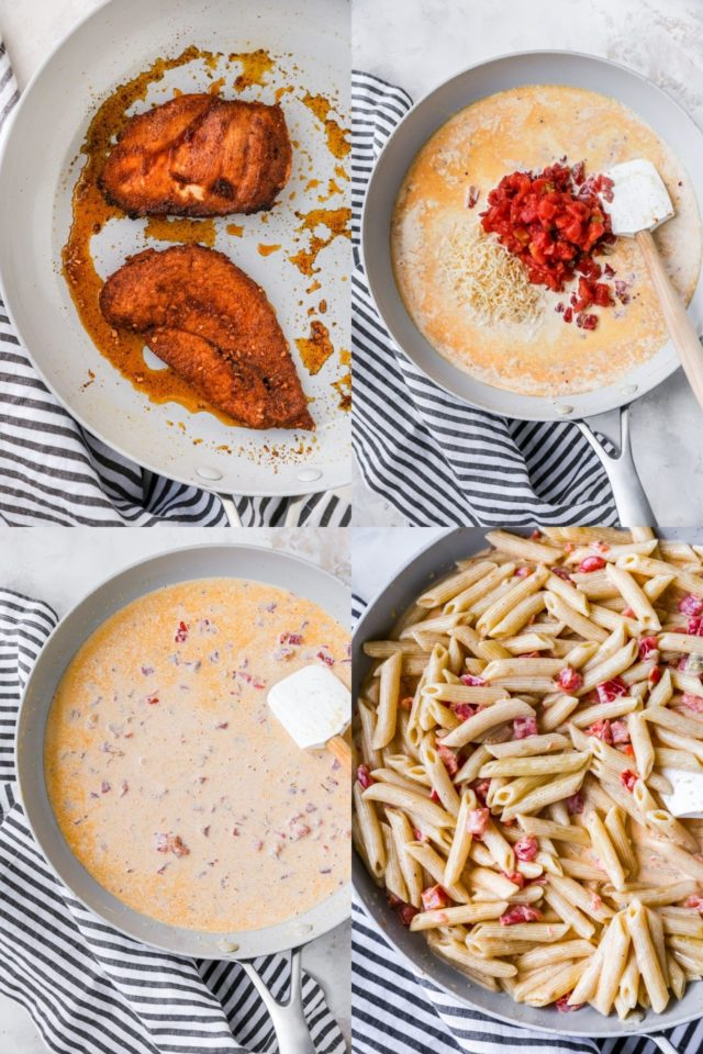 steps for making creamy chicken pasta