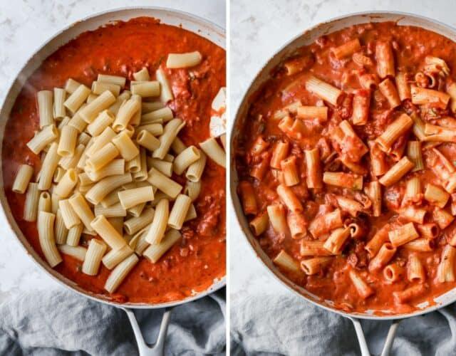 adding rigatoni pasta to creamy pasta sauce