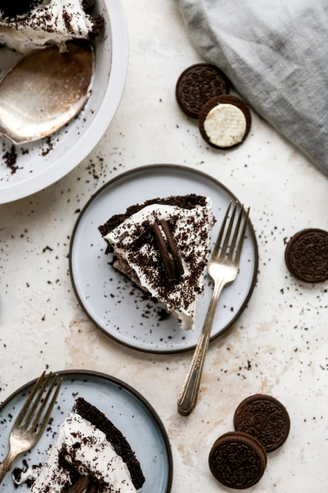 slice of Oreo pie on a plate with a fork