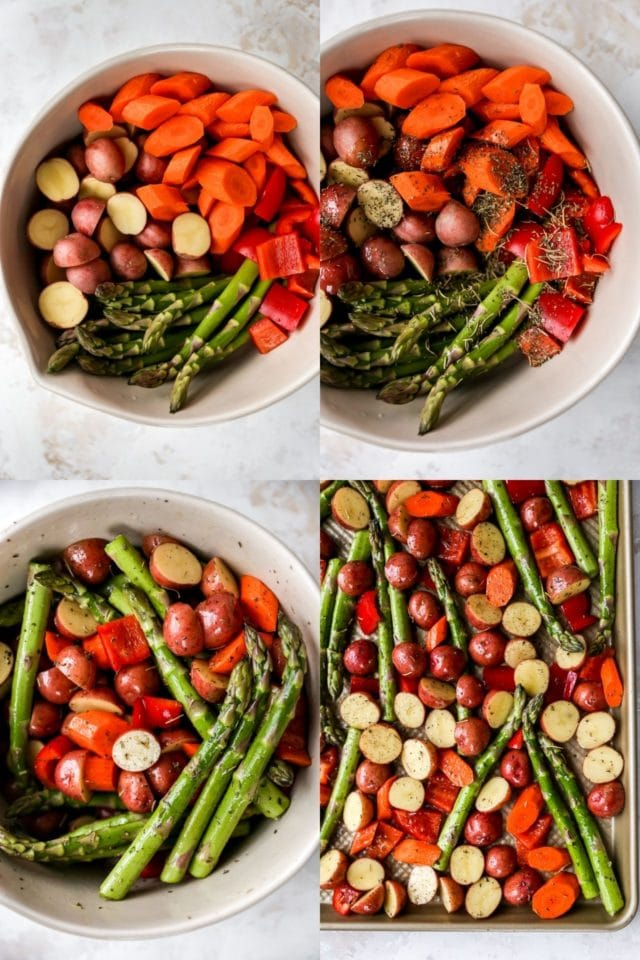 adding seasoning mix to veggies for roasted vegetables recipe