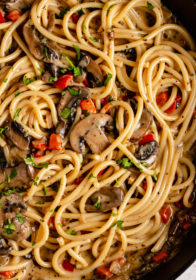 mushroom cream sauce over spaghetti
