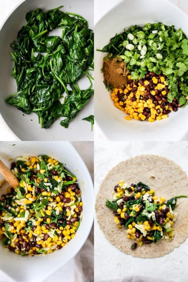 mixing veggies for black bean enchiladas
