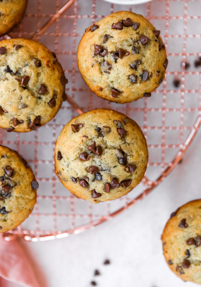 top of banana Chocolate chip muffins