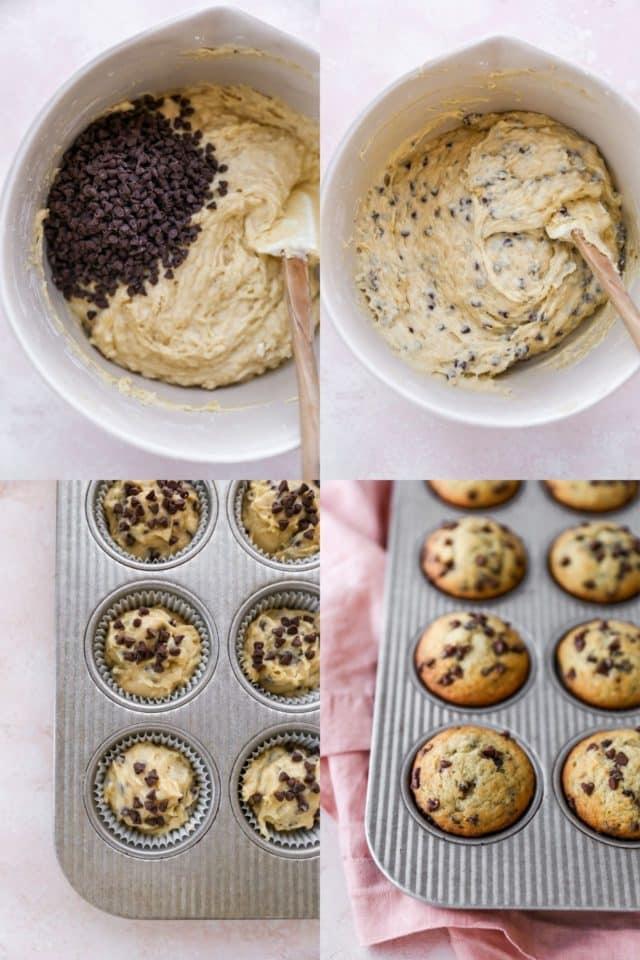 steps to making banana chocolate chip muffins
