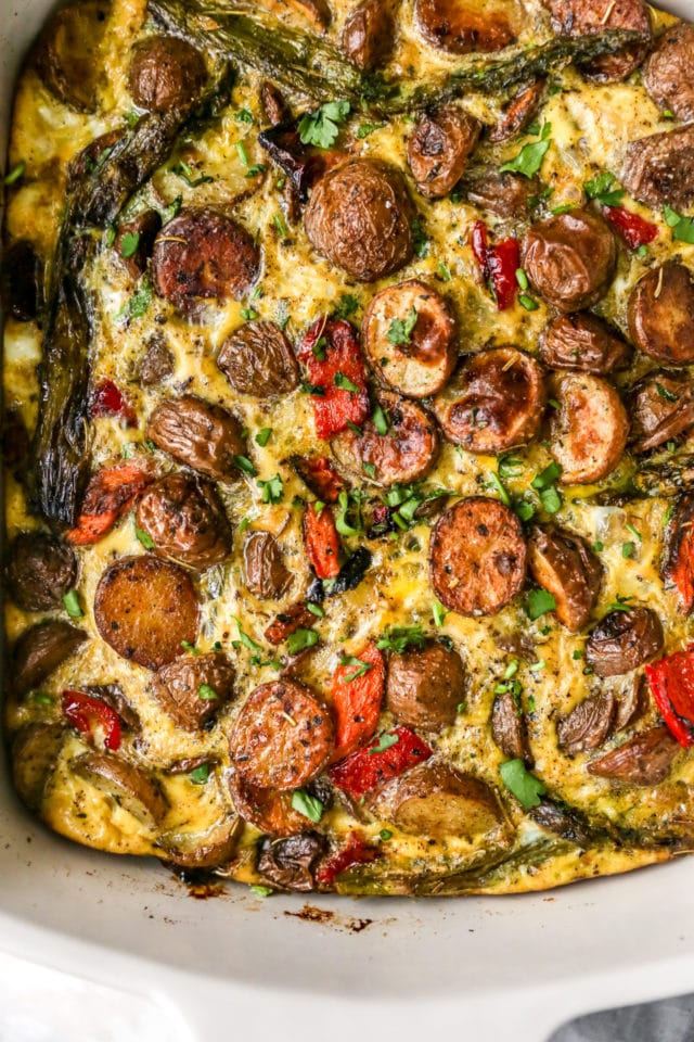 baked breakfast casserole filled with veggies