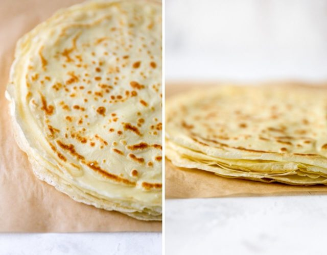 thin, delicate crepes stacked