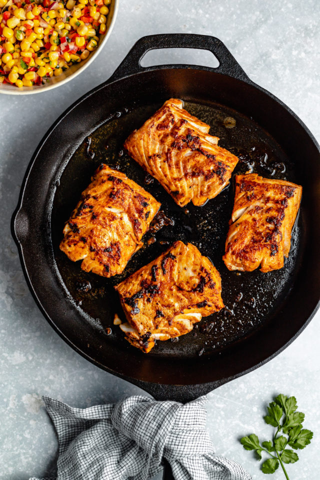 cooking cod in a cast iron skillet