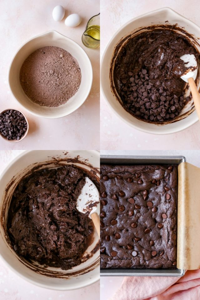 mixing brownie batter in a large bowl for cake mix brownies