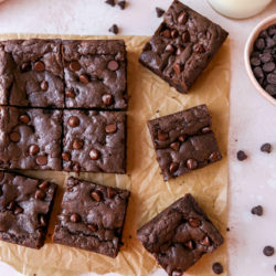cake mix brownies cut into squares