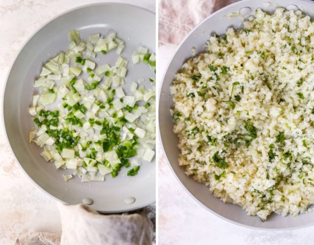 cooking cilantro lime cauliflower rice in a skillet