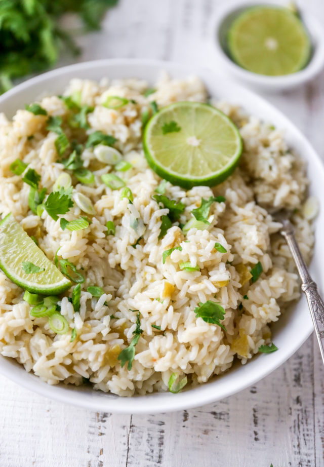 fluffy cilantro lime rice topped with lime wedges