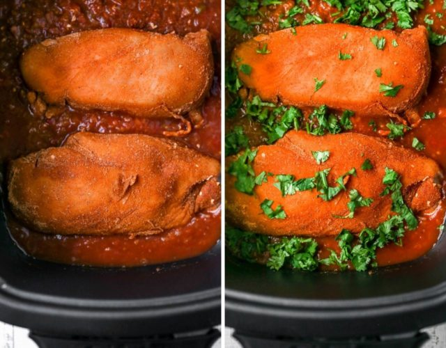 placing seasoned chicken breast in the crockpot with salsa and cilantro