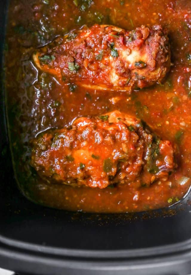 salsa chicken cooking in the crockpot
