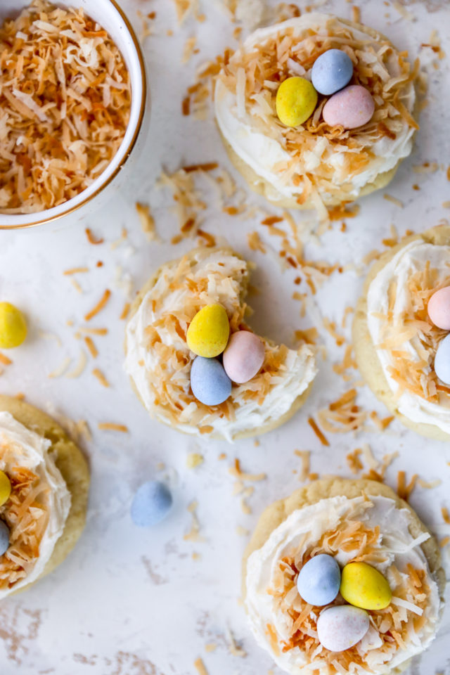 bird's nest easter cookies made with coconut and Cadbury eggs