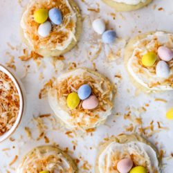 bird's nest easter cookies with frosting, toasted coconut and Cadbury eggs
