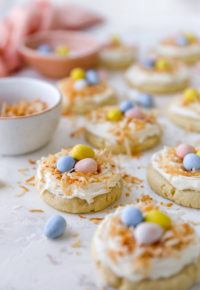 Frosted sugar cookies topped with mini Cadbury eggs