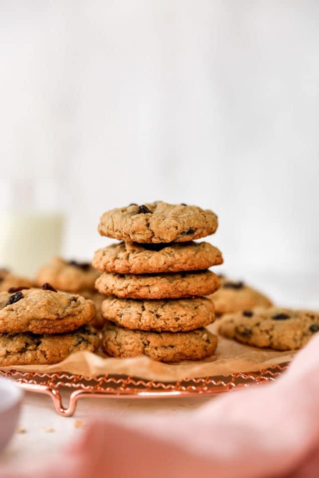 stack of oatmeal raisin cookies