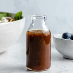balsamic vinaigrette in a small glass jar