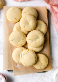 soft sugar cookies on parchment paper