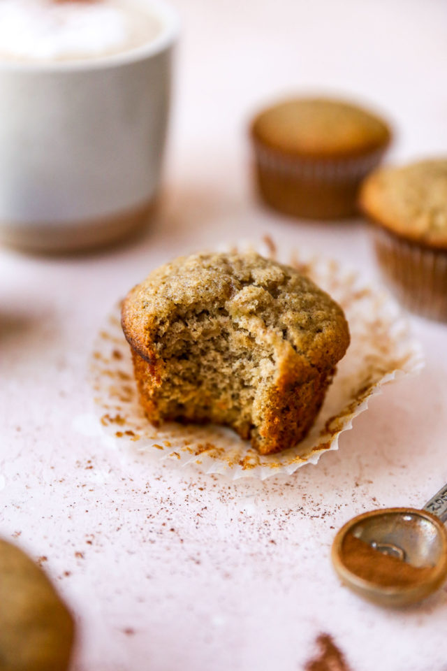 banana muffin with bite taken out