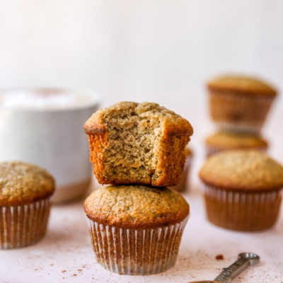 two easy banana muffins stacked