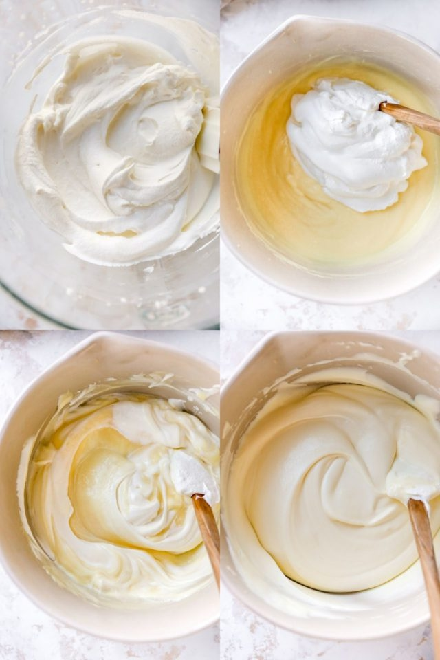 mixing whipped topping with banana pudding